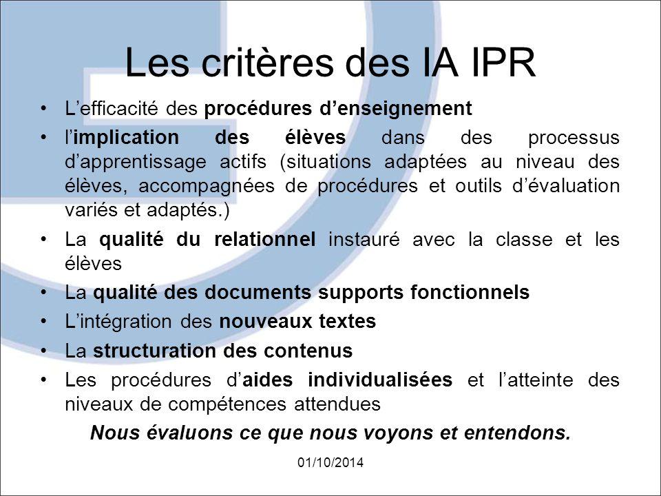 Les critères des IA IPR L'efficacité des procédures d'enseignement l'implication des élèves dans des processus d'apprentissage actifs (situations adap