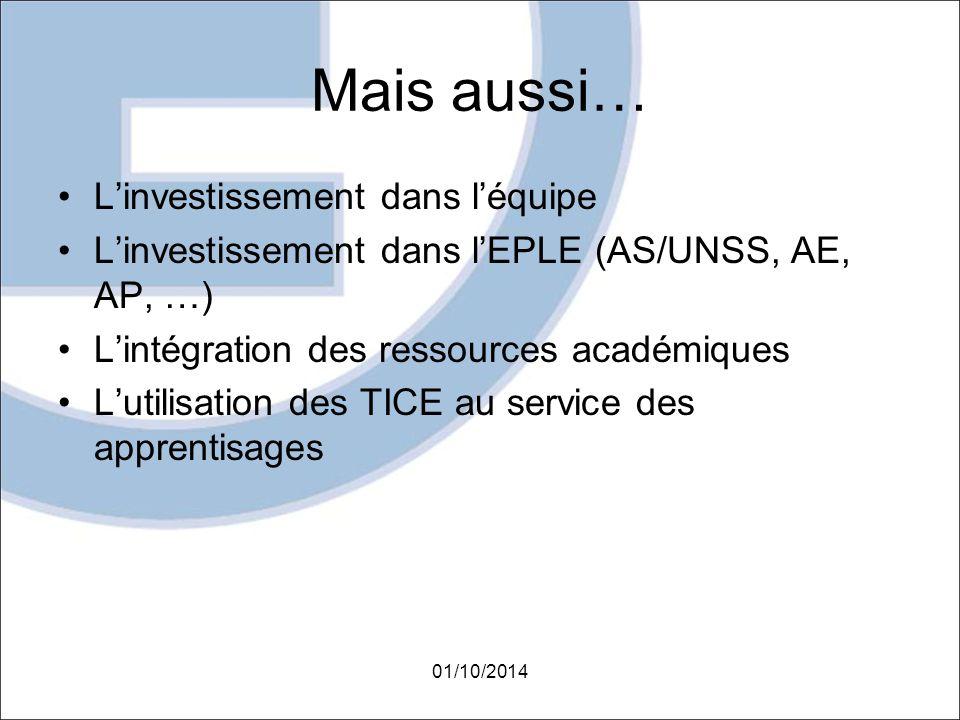 Mais aussi… L'investissement dans l'équipe L'investissement dans l'EPLE (AS/UNSS, AE, AP, …) L'intégration des ressources académiques L'utilisation de