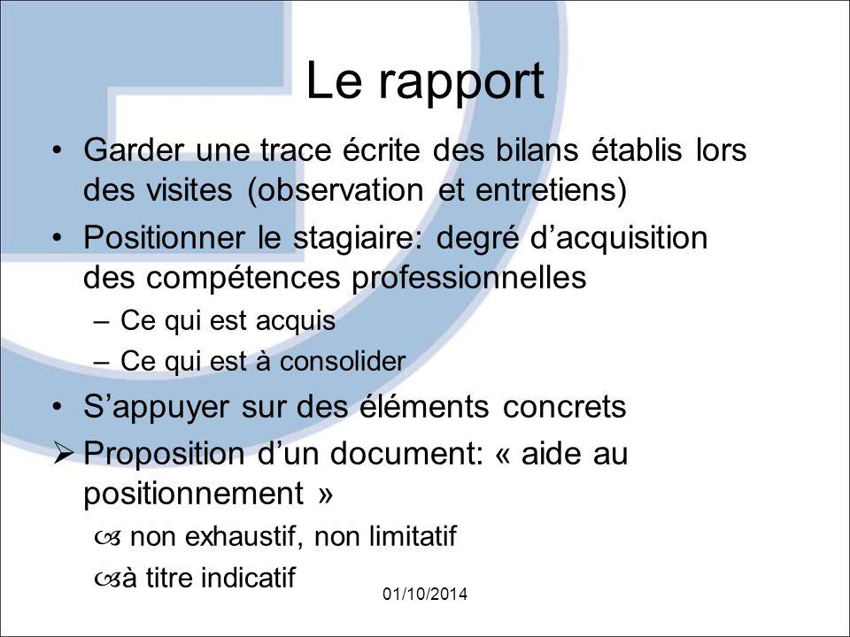 Le rapport Garder une trace écrite des bilans établis lors des visites (observation et entretiens) Positionner le stagiaire: degré d'acquisition des c