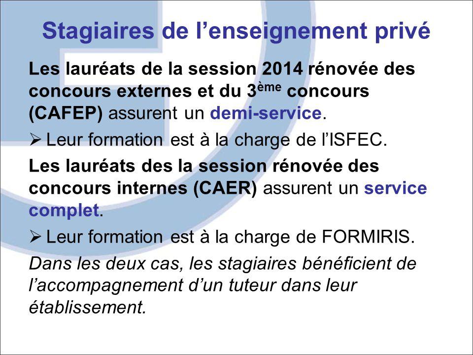 Stagiaires de l'enseignement privé Les lauréats de la session 2014 rénovée des concours externes et du 3 ème concours (CAFEP) assurent un demi-service