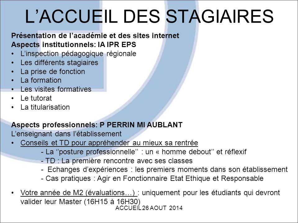 L'ACCUEIL DES STAGIAIRES ACCUEIL 26 AOUT 2014 Présentation de l'académie et des sites internet Aspects institutionnels: IA IPR EPS L'inspection pédago