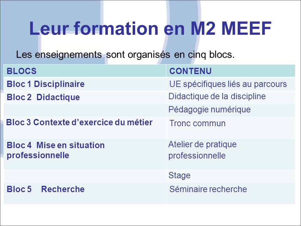 Leur formation en M2 MEEF BLOCSCONTENU Bloc 1 DisciplinaireUE spécifiques liés au parcours Bloc 2 Didactique Didactique de la discipline Pédagogie num