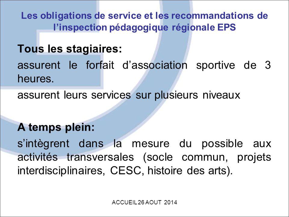 Les obligations de service et les recommandations de l'inspection pédagogique régionale EPS Tous les stagiaires: assurent le forfait d'association spo