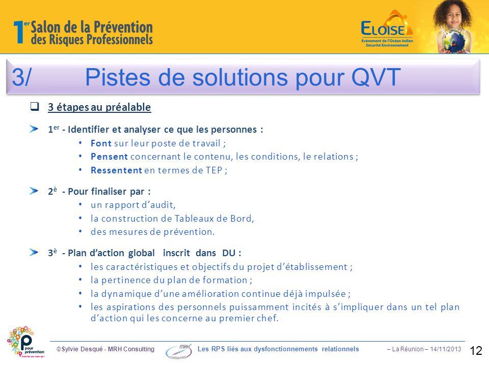3/ Pistes de solutions pour QVT ©Sylvie Desqué - MRH Consulting Les RPS liés aux dysfonctionnements relationnels – La Réunion – 14/11/2013 12  3 étap