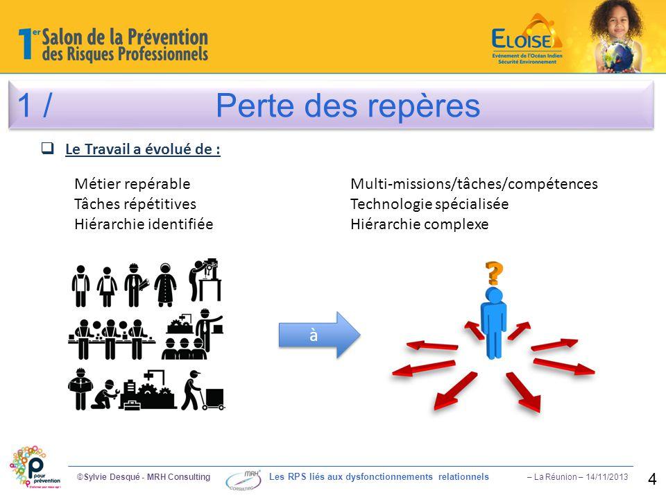1 /Perte des repères ©Sylvie Desqué - MRH Consulting Les RPS liés aux dysfonctionnements relationnels – La Réunion – 14/11/2013 4  Le Travail a évolu
