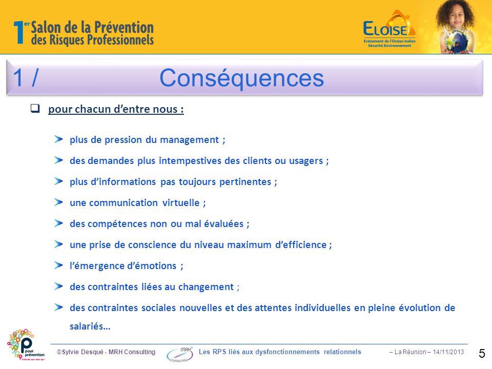 1 /Conséquences ©Sylvie Desqué - MRH Consulting Les RPS liés aux dysfonctionnements relationnels – La Réunion – 14/11/2013 5  pour chacun d'entre nou