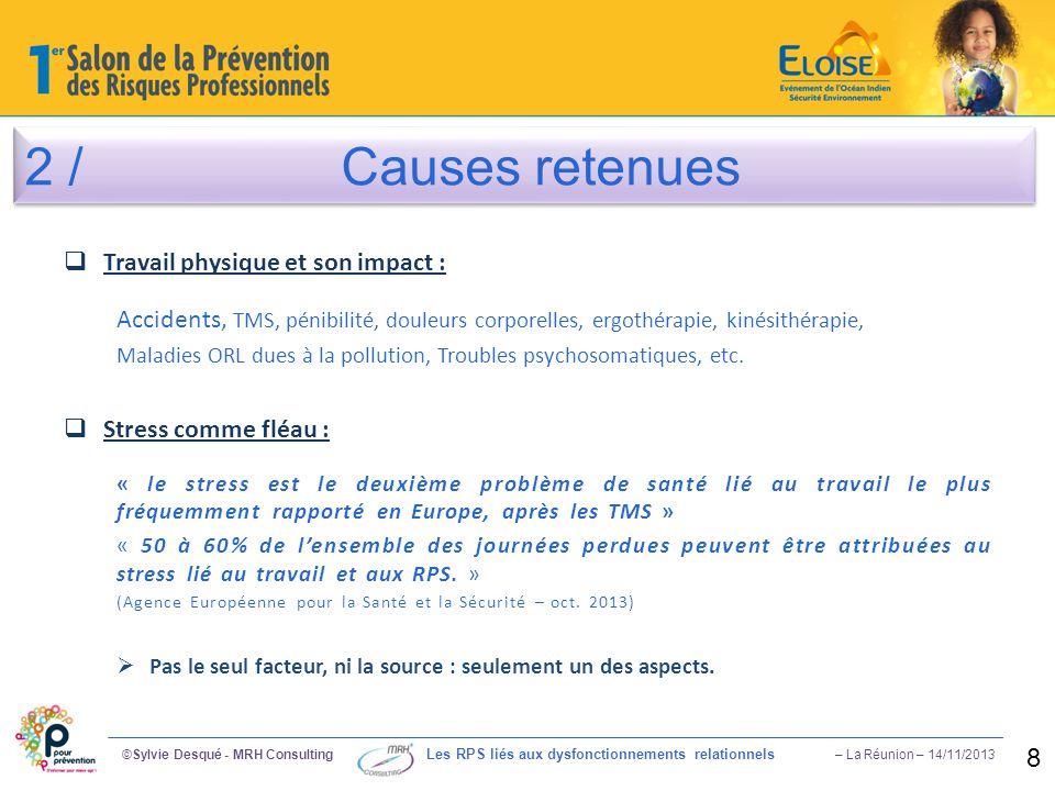 2 / Causes retenues ©Sylvie Desqué - MRH Consulting Les RPS liés aux dysfonctionnements relationnels – La Réunion – 14/11/2013 8  Travail physique et