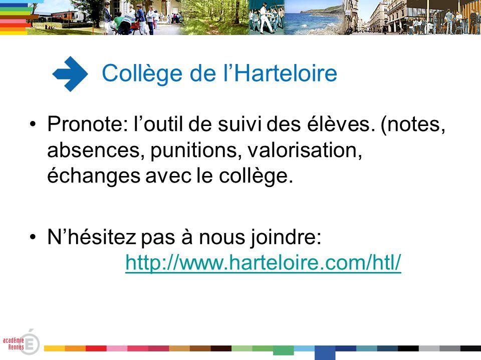Pronote: l'outil de suivi des élèves. (notes, absences, punitions, valorisation, échanges avec le collège. N'hésitez pas à nous joindre: http://www.ha
