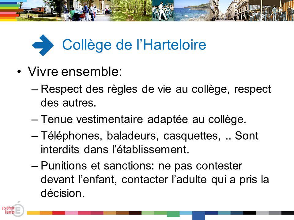 Vivre ensemble: –Respect des règles de vie au collège, respect des autres. –Tenue vestimentaire adaptée au collège. –Téléphones, baladeurs, casquettes