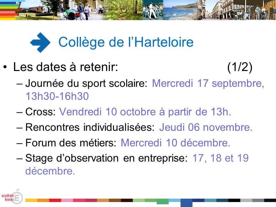 Les dates à retenir: (1/2) –Journée du sport scolaire: Mercredi 17 septembre, 13h30-16h30 –Cross: Vendredi 10 octobre à partir de 13h. –Rencontres ind