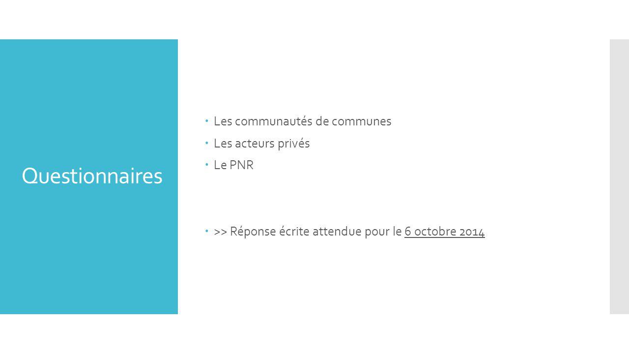 Questionnaires  Les communautés de communes  Les acteurs privés  Le PNR  >> Réponse écrite attendue pour le 6 octobre 2014