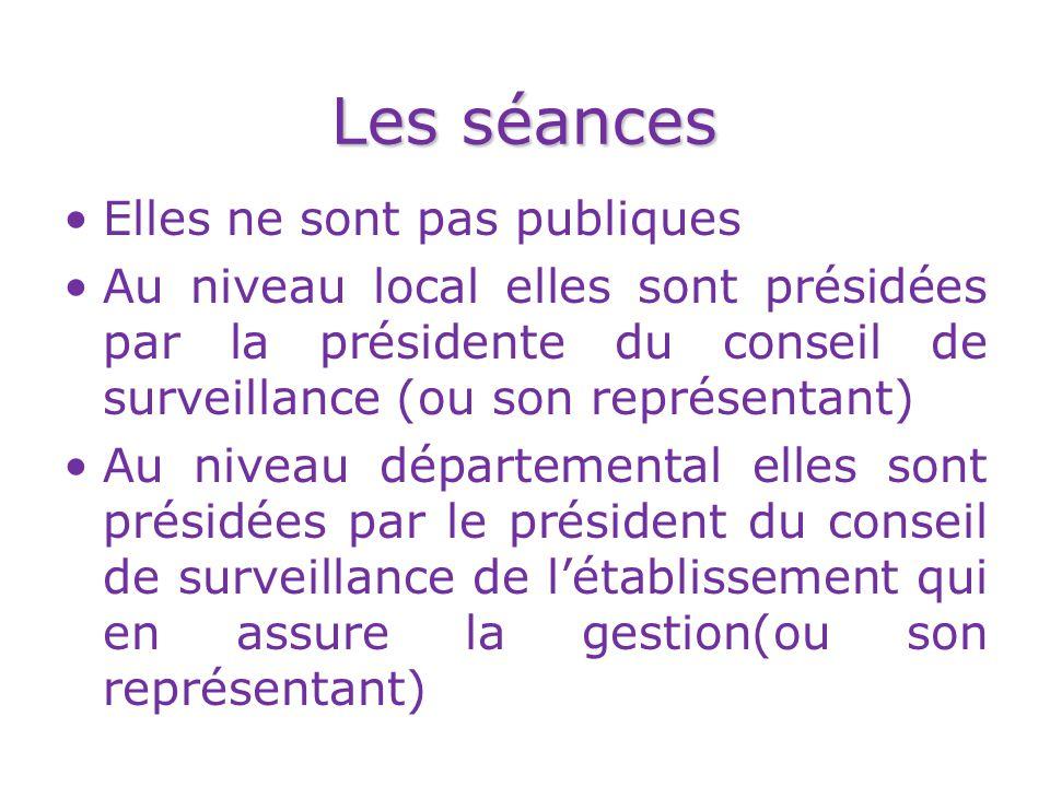 Les séances Elles ne sont pas publiques Au niveau local elles sont présidées par la présidente du conseil de surveillance (ou son représentant) Au niv