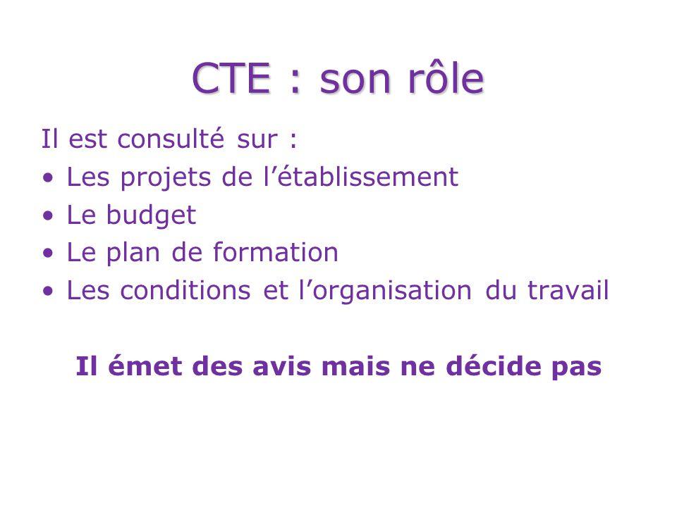 CTE : son rôle Il est consulté sur : Les projets de l'établissement Le budget Le plan de formation Les conditions et l'organisation du travail Il émet