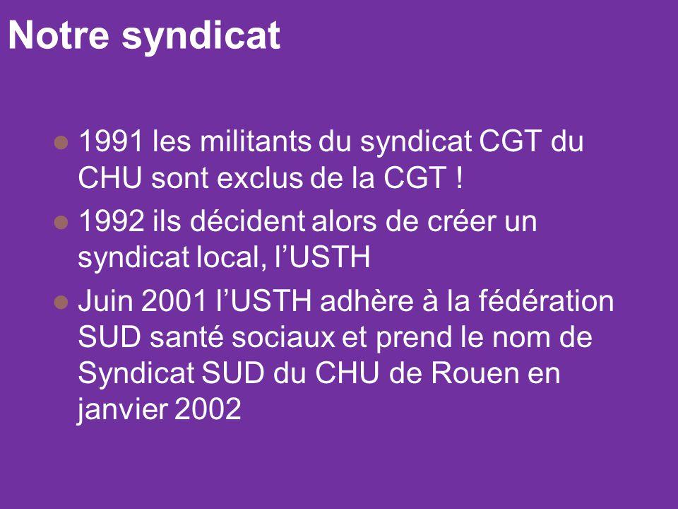 Notre syndicat 1991 les militants du syndicat CGT du CHU sont exclus de la CGT ! 1992 ils décident alors de créer un syndicat local, l'USTH Juin 2001