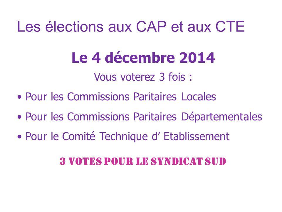 Les élections aux CAP et aux CTE Le 4 décembre 2014 Vous voterez 3 fois : Pour les Commissions Paritaires Locales Pour les Commissions Paritaires Dépa
