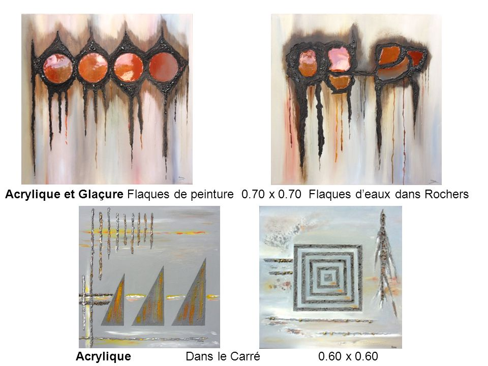 Acrylique et Glaçure Flaques de peinture 0.70 x 0.70 Flaques d'eaux dans Rochers Acrylique Dans le Carré 0.60 x 0.60