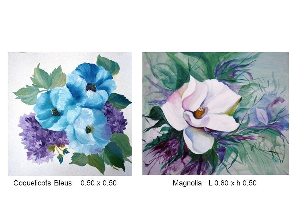 Coquelicots Bleus 0.50 x 0.50 Magnolia L 0.60 x h 0.50