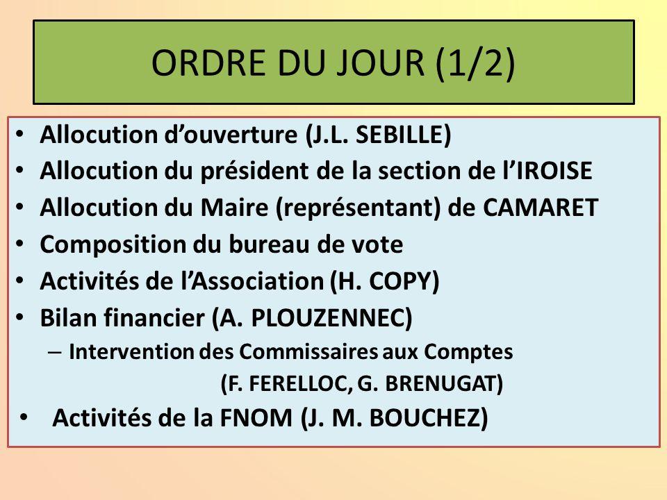 ORDRE DU JOUR (1/2) Allocution d'ouverture (J.L.
