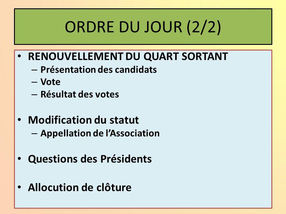 ORDRE DU JOUR (1/2) Allocution d'ouverture (J.L. SEBILLE) Allocution du président de la section de l'IROISE Allocution du Maire (représentant) de CAMA