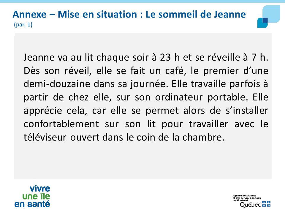 Annexe – Mise en situation : Le sommeil de Jeanne (par. 1) Jeanne va au lit chaque soir à 23 h et se réveille à 7 h. Dès son réveil, elle se fait un c
