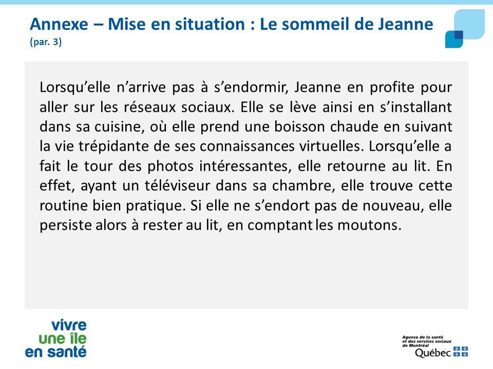 Annexe – Mise en situation : Le sommeil de Jeanne (par. 3) Lorsqu'elle n'arrive pas à s'endormir, Jeanne en profite pour aller sur les réseaux sociaux