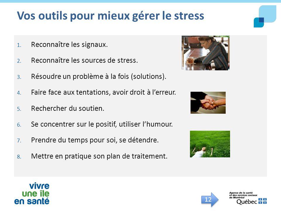 Vos outils pour mieux gérer le stress 1. Reconnaître les signaux. 2. Reconnaître les sources de stress. 3. Résoudre un problème à la fois (solutions).
