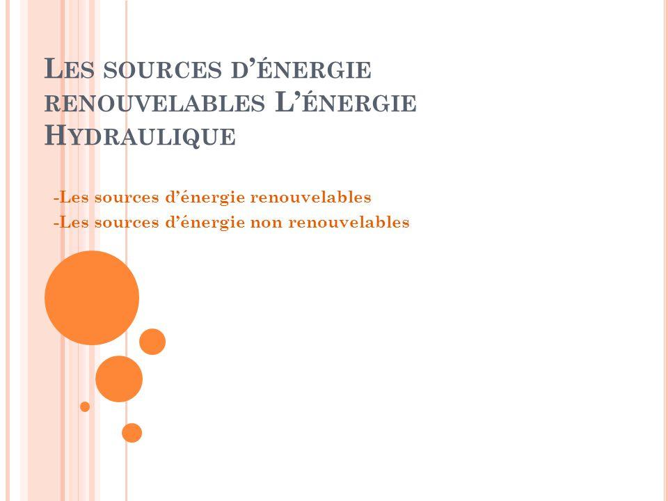 L ES SOURCES D ' ÉNERGIE RENOUVELABLES L' ÉNERGIE H YDRAULIQUE -Les sources d'énergie renouvelables -Les sources d'énergie non renouvelables