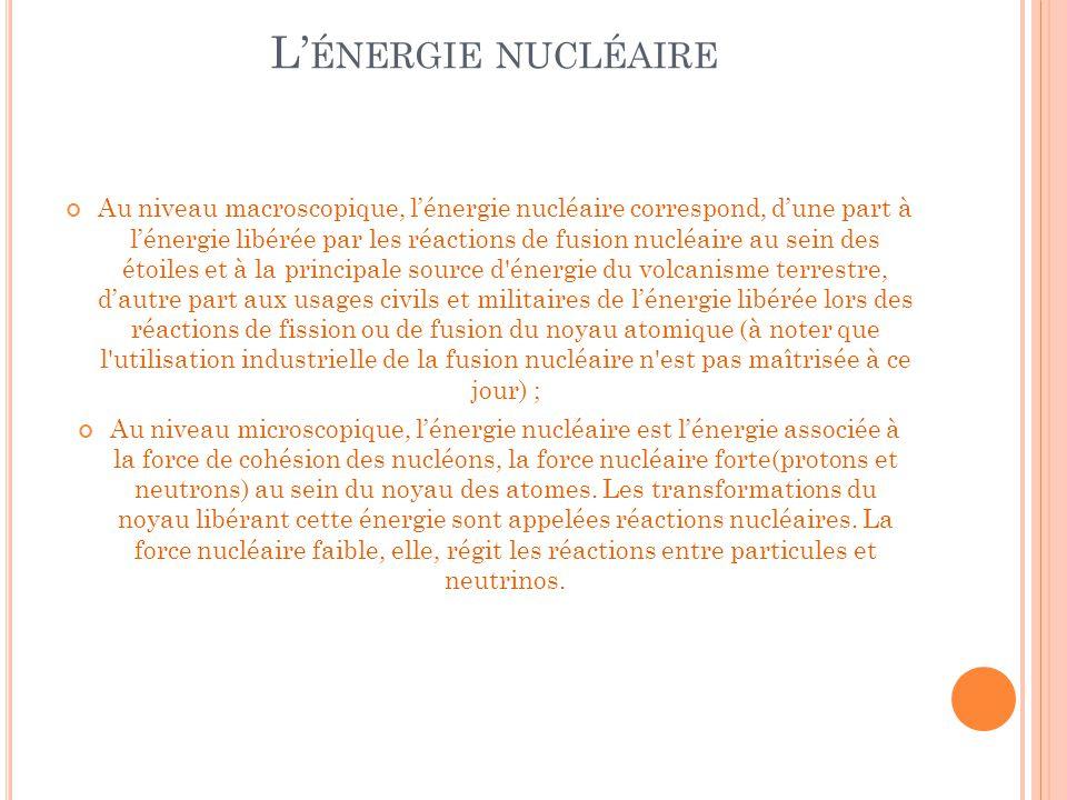 L' ÉNERGIE NUCLÉAIRE Au niveau macroscopique, l'énergie nucléaire correspond, d'une part à l'énergie libérée par les réactions de fusion nucléaire au