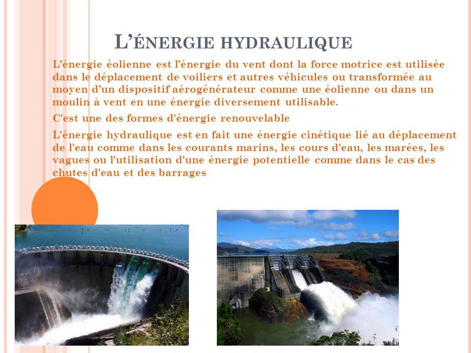 L' ÉNERGIE HYDRAULIQUE L'énergie éolienne est l'énergie du vent dont la force motrice est utilisée dans le déplacement de voiliers et autres véhicules