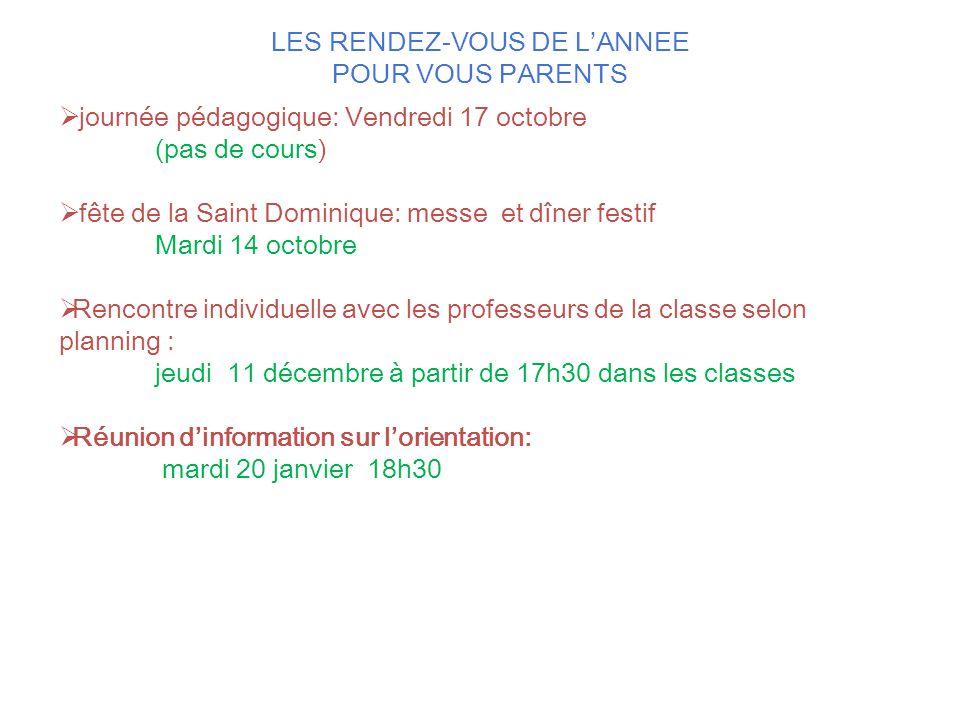 LES RENDEZ-VOUS DE L'ANNEE POUR VOUS PARENTS  journée pédagogique: Vendredi 17 octobre (pas de cours)  fête de la Saint Dominique: messe et dîner fe