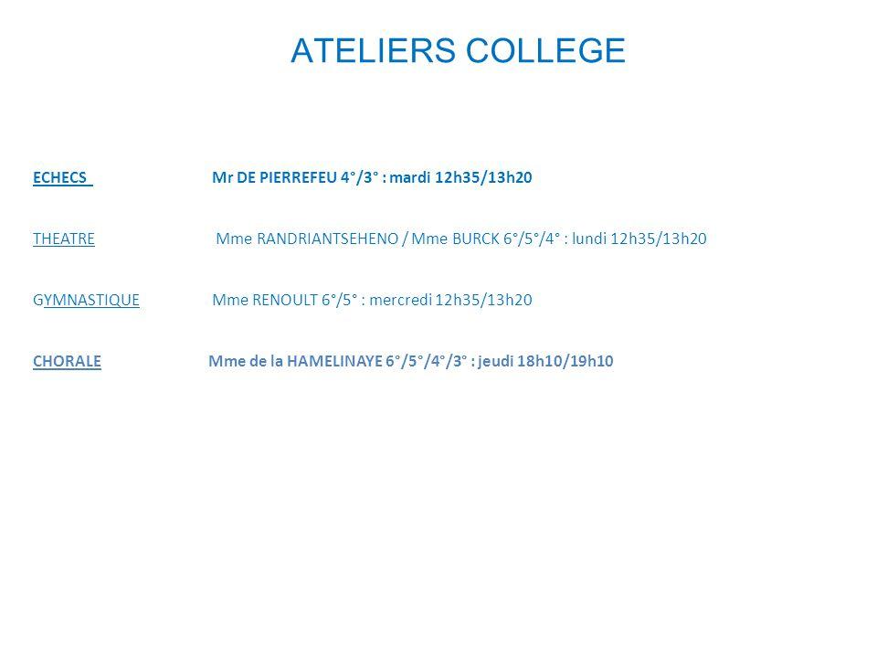 ATELIERS COLLEGE ECHECS Mr DE PIERREFEU 4°/3° : mardi 12h35/13h20 THEATRE Mme RANDRIANTSEHENO / Mme BURCK 6°/5°/4° : lundi 12h35/13h20 GYMNASTIQUE Mme