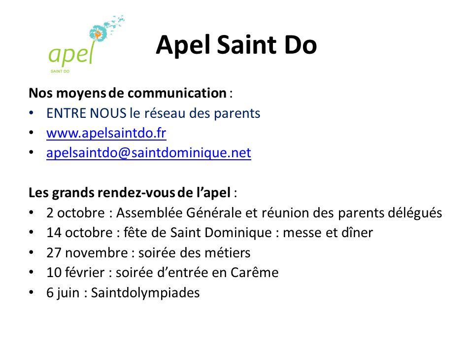 Apel Saint Do Nos moyens de communication : ENTRE NOUS le réseau des parents www.apelsaintdo.fr apelsaintdo@saintdominique.net Les grands rendez-vous