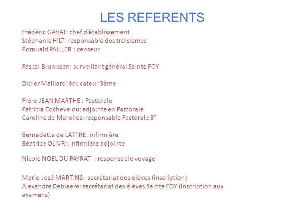 LES REFERENTS Frédéric GAVAT: chef d'établissement Stéphanie HILT: responsable des troisièmes Romuald PAILLER : censeur Pascal Brunissen: surveillant