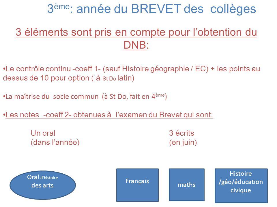 3 ème : année du BREVET des collèges 3 éléments sont pris en compte pour l'obtention du DNB: Le contrôle continu -coeff 1- (sauf Histoire géographie /