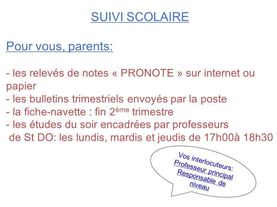 SUIVI SCOLAIRE Pour vous, parents: - les relevés de notes « PRONOTE » sur internet ou papier - les bulletins trimestriels envoyés par la poste - la fi