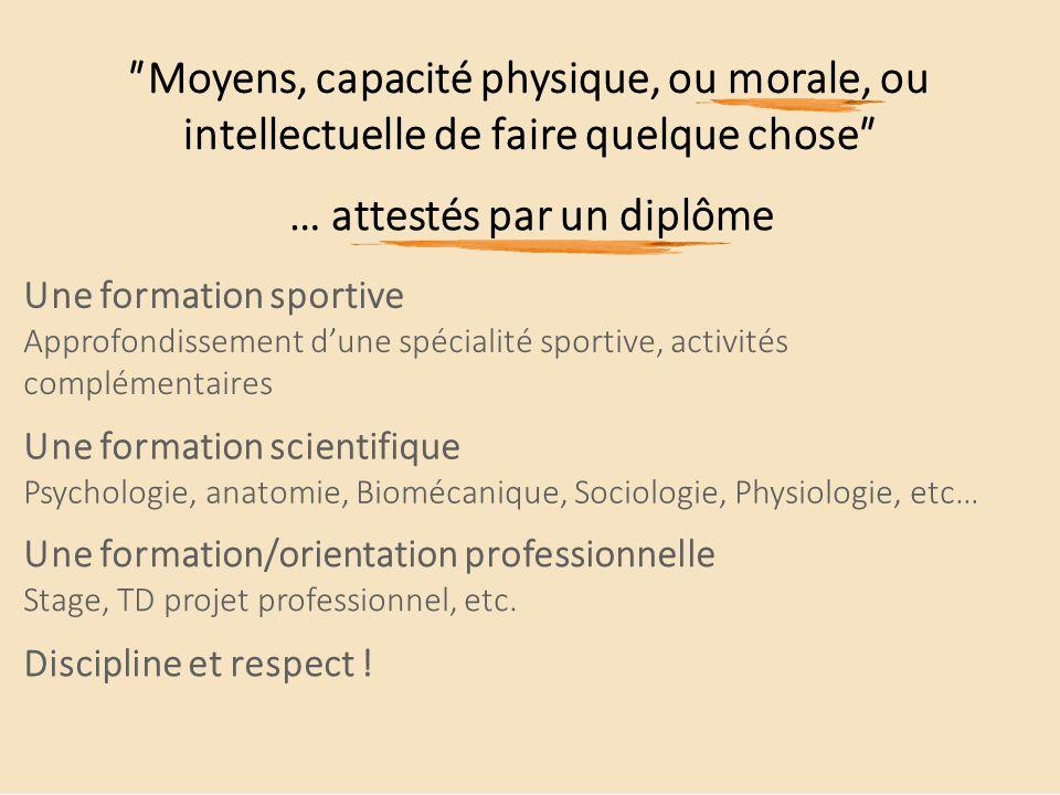 ʺMoyens, capacité physique, ou morale, ou intellectuelle de faire quelque choseʺ … attestés par un diplôme Une formation sportive Approfondissement d'