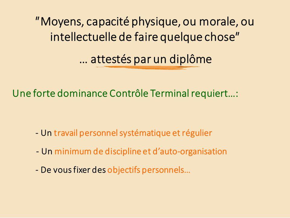 ʺMoyens, capacité physique, ou morale, ou intellectuelle de faire quelque choseʺ … attestés par un diplôme Une forte dominance Contrôle Terminal requi