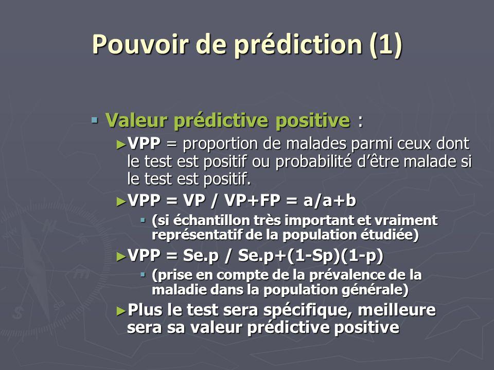 Pouvoir de prédiction (1)  Valeur prédictive positive : ► VPP = proportion de malades parmi ceux dont le test est positif ou probabilité d'être malad