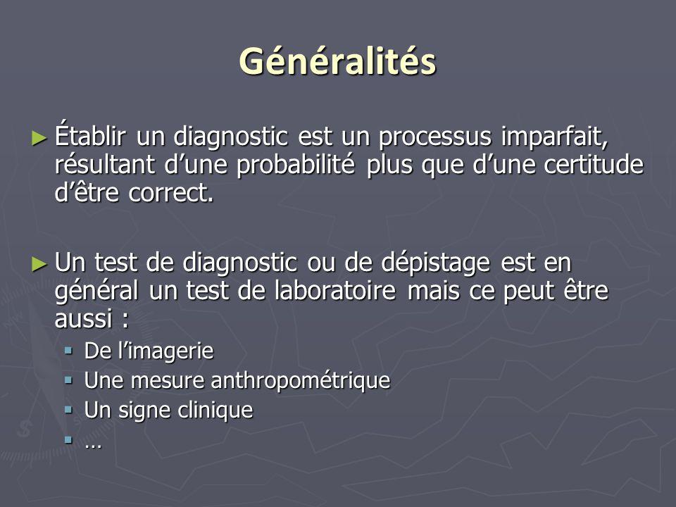 Généralités ► Établir un diagnostic est un processus imparfait, résultant d'une probabilité plus que d'une certitude d'être correct. ► Un test de diag