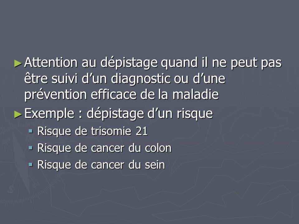 ► Attention au dépistage quand il ne peut pas être suivi d'un diagnostic ou d'une prévention efficace de la maladie ► Exemple : dépistage d'un risque