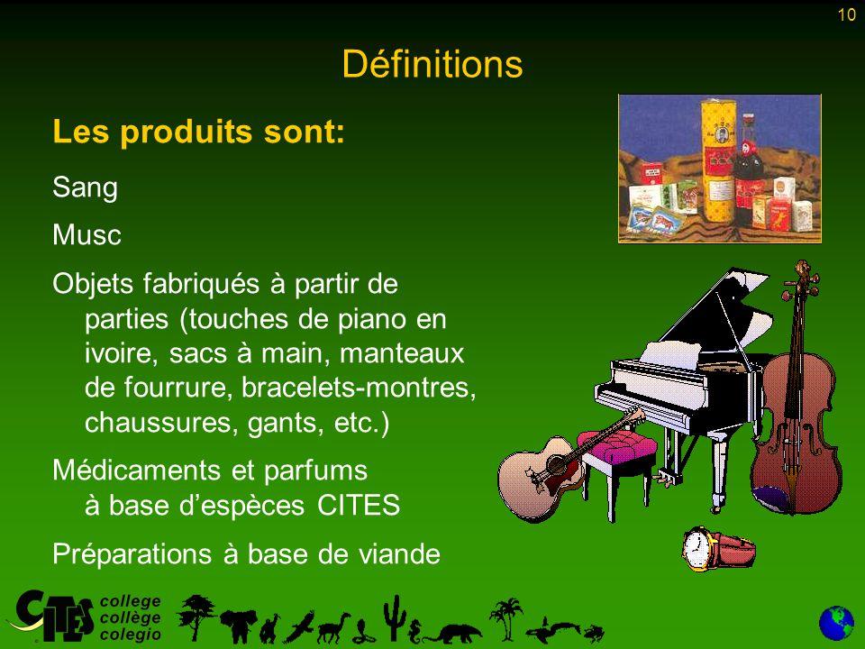 10 Définitions Les produits sont: Sang Musc Objets fabriqués à partir de parties (touches de piano en ivoire, sacs à main, manteaux de fourrure, bracelets-montres, chaussures, gants, etc.) Médicaments et parfums à base d'espèces CITES Préparations à base de viande