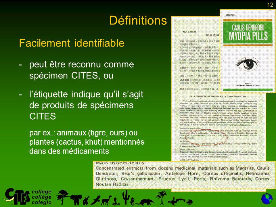 12 Définitions Facilement identifiable -peut être reconnu comme spécimen CITES, ou -l'étiquette indique qu'il s'agit de produits de spécimens CITES par ex.: animaux (tigre, ours) ou plantes (cactus, khut) mentionnés dans des médicaments