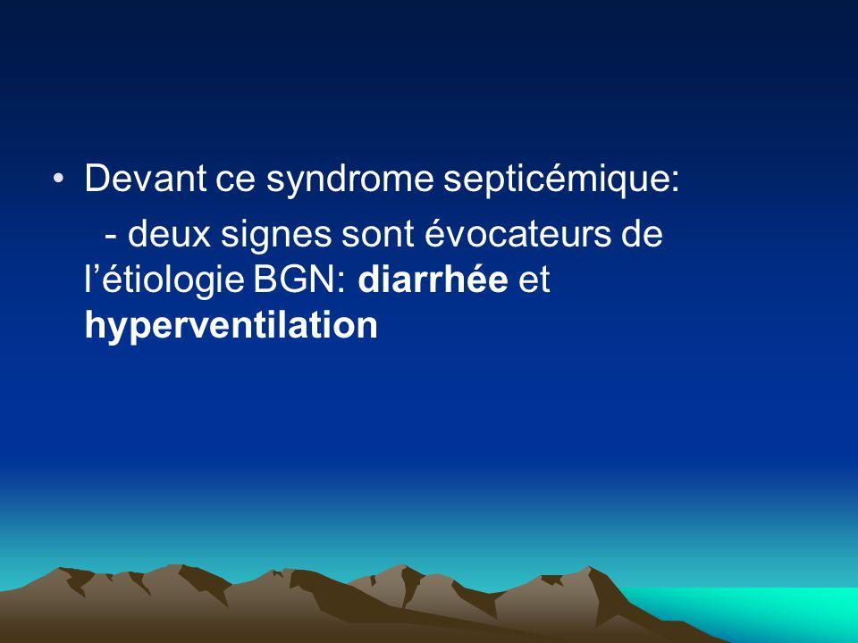 Devant ce syndrome septicémique: - deux signes sont évocateurs de l'étiologie BGN: diarrhée et hyperventilation