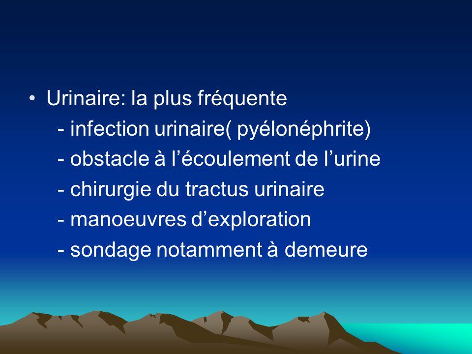 Urinaire: la plus fréquente - infection urinaire( pyélonéphrite) - obstacle à l'écoulement de l'urine - chirurgie du tractus urinaire - manoeuvres d'e