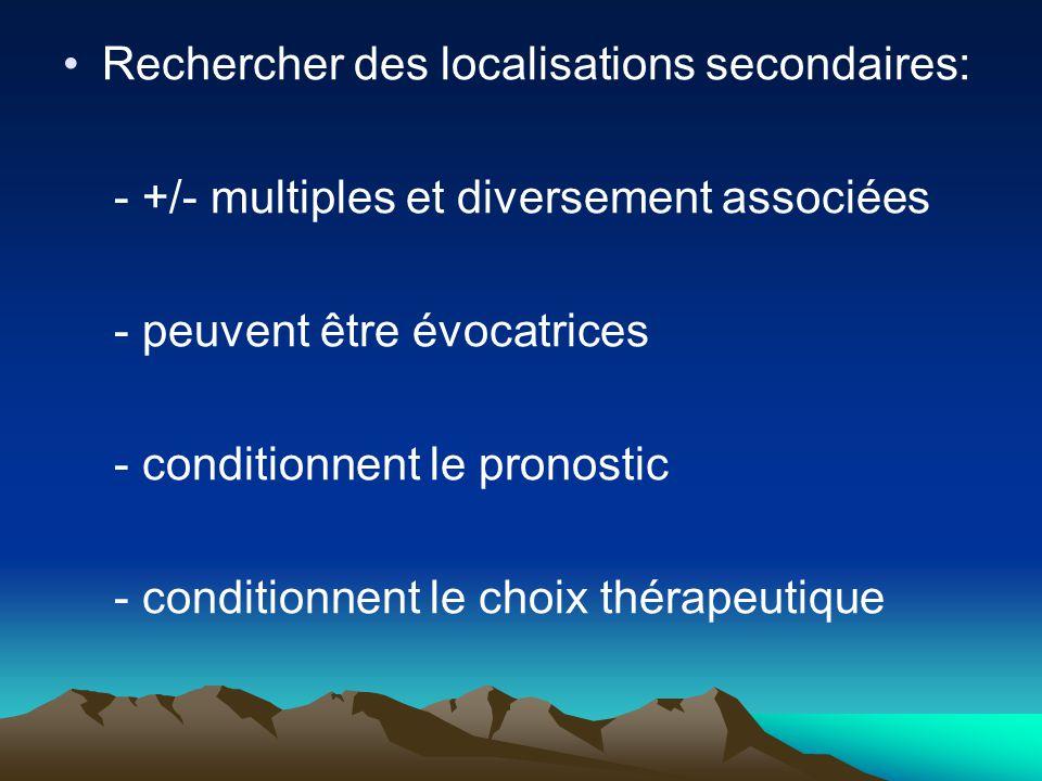 Rechercher des localisations secondaires: - +/- multiples et diversement associées - peuvent être évocatrices - conditionnent le pronostic - condition
