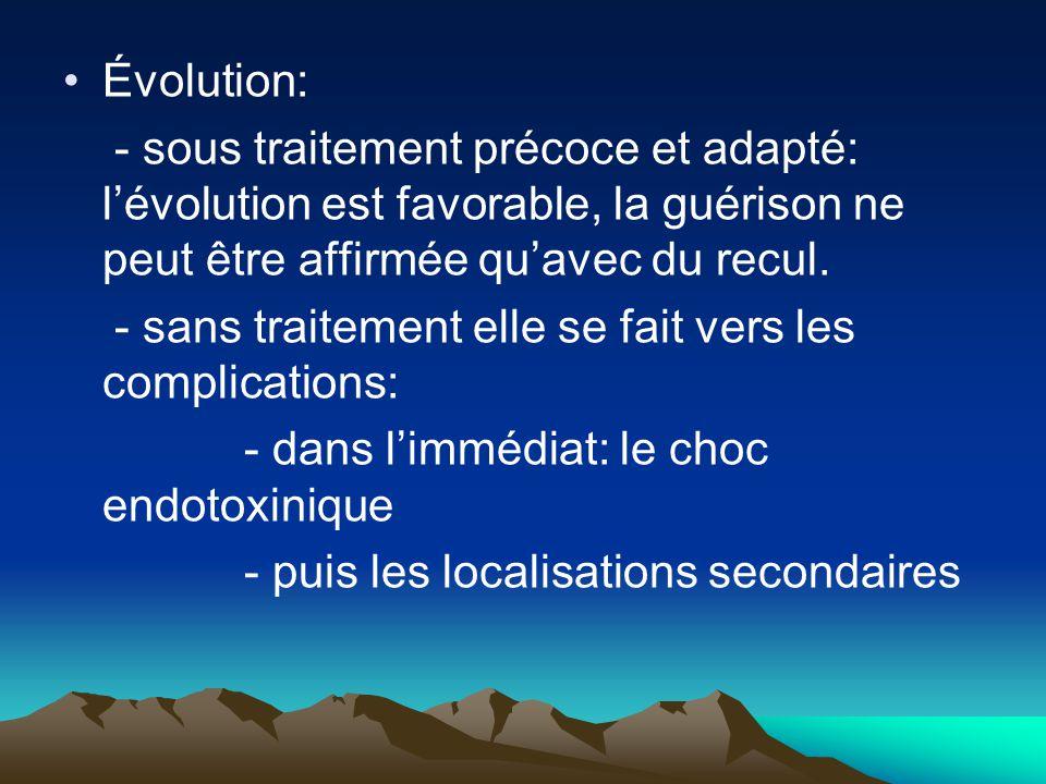 Évolution: - sous traitement précoce et adapté: l'évolution est favorable, la guérison ne peut être affirmée qu'avec du recul. - sans traitement elle