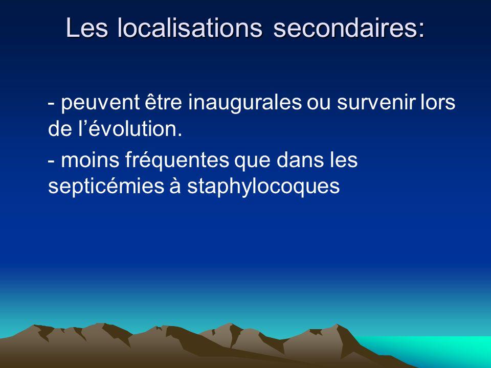 Les localisations secondaires: - peuvent être inaugurales ou survenir lors de l'évolution. - moins fréquentes que dans les septicémies à staphylocoque