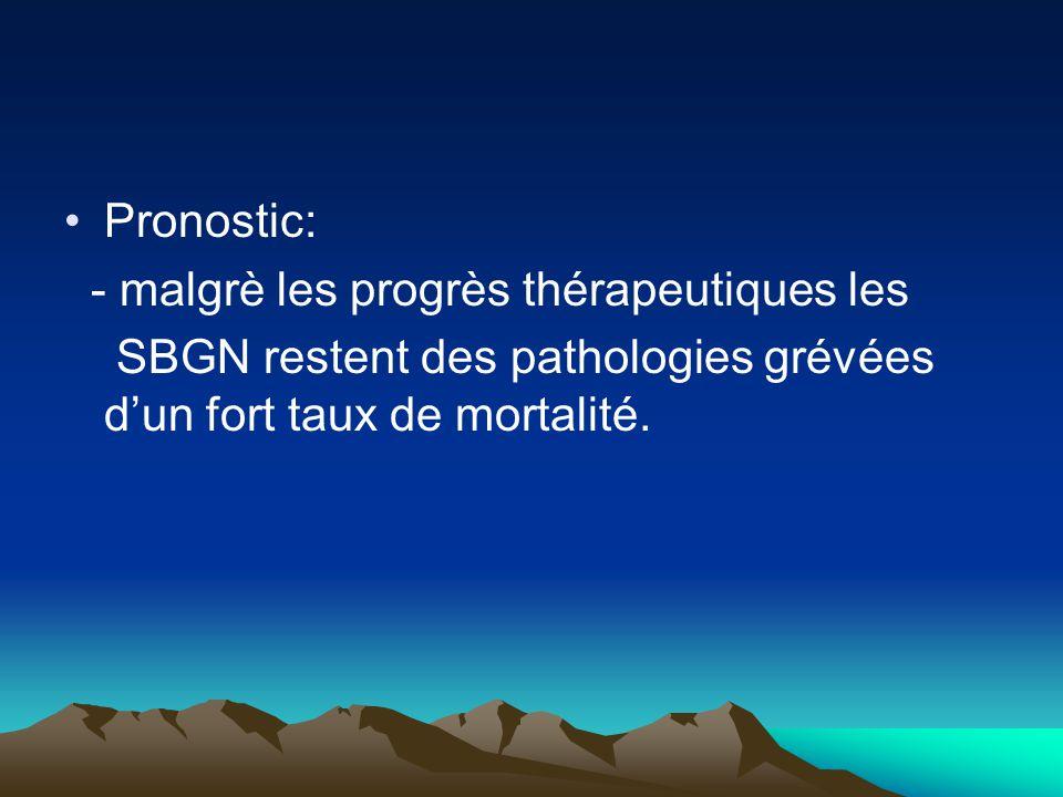 Pronostic: - malgrè les progrès thérapeutiques les SBGN restent des pathologies grévées d'un fort taux de mortalité.