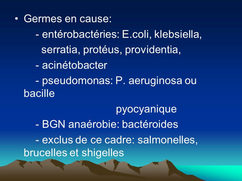 Germes en cause: - entérobactéries: E.coli, klebsiella, serratia, protéus, providentia, - acinétobacter - pseudomonas: P. aeruginosa ou bacille pyocya