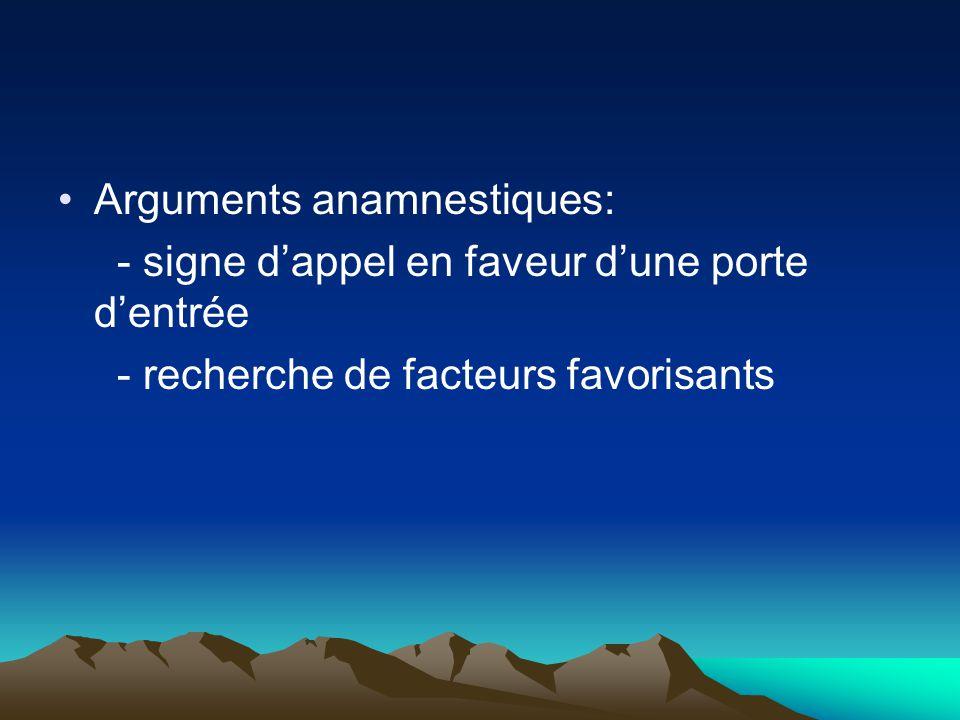 Arguments anamnestiques: - signe d'appel en faveur d'une porte d'entrée - recherche de facteurs favorisants